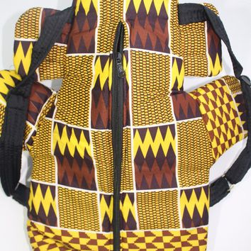 African print Toddler backpack, Kente cloth backpack-Brown yellow