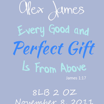 Digital Download,  D.I.Y Printable, Personalized Baby Boy Bible Verse, Wall Art Print, Typography Art, Instant Home Decor, Word Art, Nursery