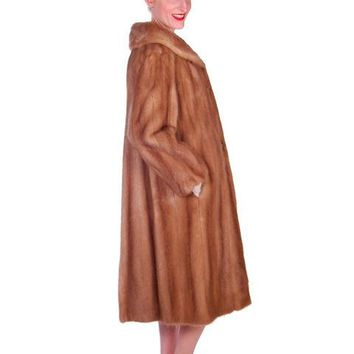 Vintage Mink Coat Autumn Haze Fantastic Buttons 1950s Small
