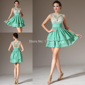 2014 Vestidos De Coctel Beautiful Mint Green Sheer Lace Tule Neck Top Layered Short Cocktail Dress Women Free Shipping JW090