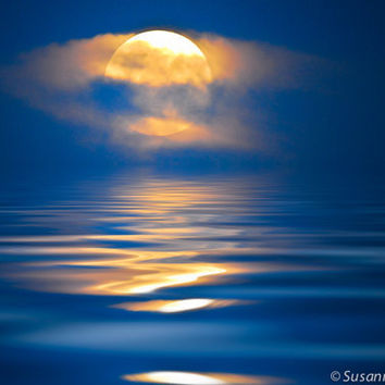 Nature Photography,  Moon Rising at Night, Matted Print and Photo Card, Water, Lake, Blue, Serene, Reflection