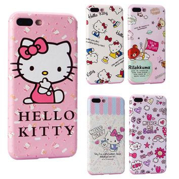 Cute Cartoon Hello Kitty Case Cover for Apple iPhone 7 8 6 6s Plus Pink Cat Phone Cases Leather Texture Soft Silicone Case Girls