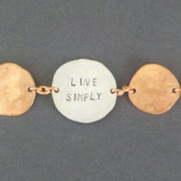 Live Simply Stamped Coin Bracelet Made from Copper Pennies and a Quarter Repurposed Upcycled Coins Unique Jewelry
