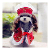 Dog Pet Clothes Cloak Wig Hat Suit   PF20 red   S