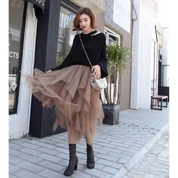 DCCKFS2 Fashion Elastic High Waist Long Tulle Skirt Women Irregular Hem Mesh Tutu Skirt 2018 Spring Party Skirt Ladies faldas detul