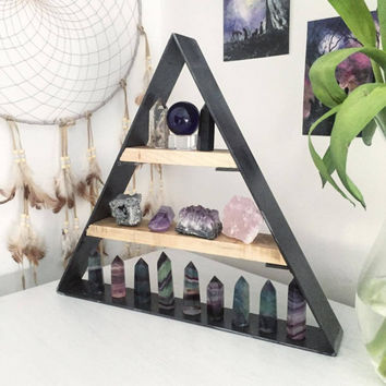 Steel and Wood crystal shelf