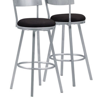 "Silver Metal 43""H Swivel Barstool (Set Of 2)"