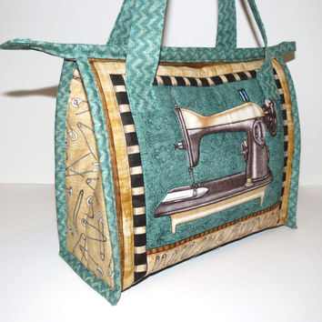 Sewing Bag, Quilted Tote, Vintage Sewing Machine with Aqua Green