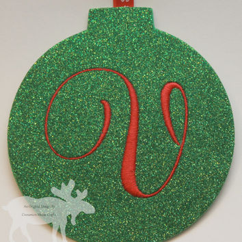 Christmas Ornament / Holiday Ornament / Glitter Ornament / Personalized Ornament / Monogrammed Ornament / Green Ornament / Green Glitter
