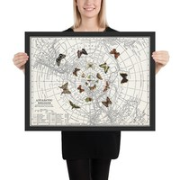 Butterfly Effect Map Framed print, travel decor, unique butterflies