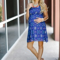 Blue Tribal Printed Chiffon Maternity Dress
