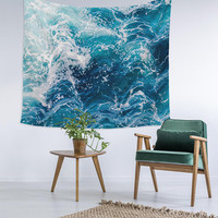 Ombre Waves Ocean Coastal Custom Printed Unique Dorm Decor Apartment Decor Trendy Wall Art Printed Wall Hanging Wall Tapestry