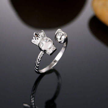 Sterling Silver Royal Skull Ring