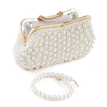 Women Evening Bag Full Pearl Beaded Clutch Ladies Wedding Party Banquet Handbag Female Luxury Shoulder Crossbody Bag Small Purse