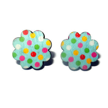 Wooden Flower Polka Dot Post Earring