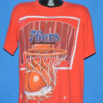 90s Philadelphia 76ers Ball Eating Net t-shirt Large