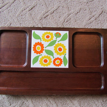 Retro Cheese And Sausage Tiled Serving Tray Board