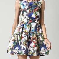 Bird Print Cocktail Summer Dress