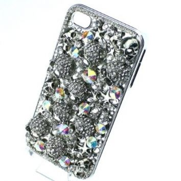 niceEshop Handmade Halloween Silver Skull Black Crystal diamond Bling Crystal Case Cover For iPhone 4 4S
