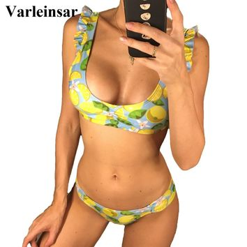 5 Color 2018 Floral Print Bikini Female Swimsuit Women Swimwear Two-pieces Bikini set Ruffled Bather Bathing Suit Swim Lady V937