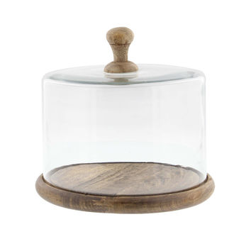 Achromous Glass And Wood Cloche