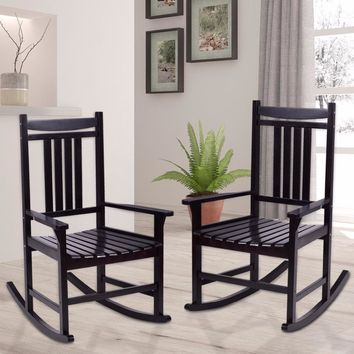 Giantex Set of 2 Wood Rocking Chair Porch Rocker Indoor Outdoor Patio Furniture Black Living Room Furniture HW56207