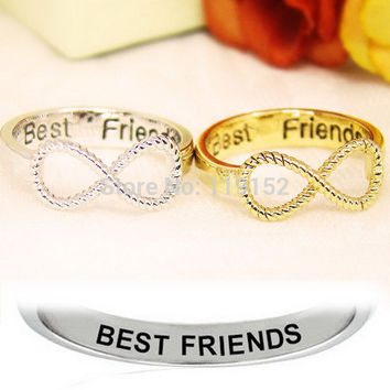 12pcs/lot Best Friends Ring Womens Infinity Ring Engraved O Jewelry Gold Silver plated Jewelry BFF rings Number ring
