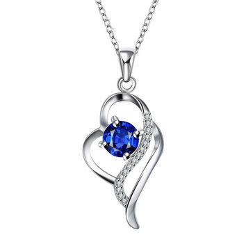 Mock Sapphire Curved Hollow Heart Drop Necklace