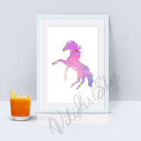 Hors Poster Art - Hors watercolor art, Home Decor, Nursery Art Decor, Hors Print Art, Animal Art, Kids room Decor