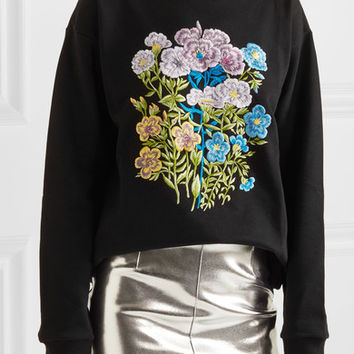 Christopher Kane - Floral embroidered cotton-jersey sweatshirt
