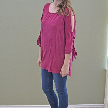 Half Full Slit Shoulder Top: Burnt Fuschia