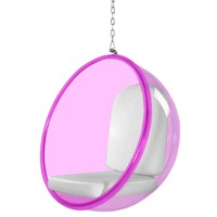 Fine Mod Imports Bubble Hanging Chair Pink Acrylic, White