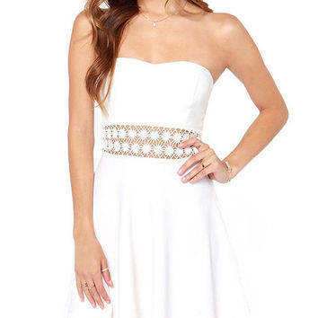 White Strapless Lace Embroidered Mini Skater Dress