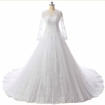 Ball gown Applique Lace Long sleeve Court Train Buttons Back Glamorous  wedding dresses