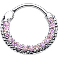 """16 Gauge 3/8"""" Pink CZ Ring of Brilliance Septum Clicker 