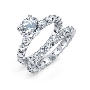 Solitaire Eternity CZ Engagement Wedding Ring Set Sterling Silver