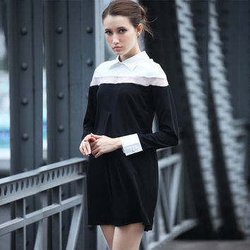 Color Block White Collar Long Sleeve Mini Dress