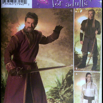 Simplicity Costume Sewing Pattern 4942 Medieval Times Renaissance Fair Men's Knight Tunic Cape Boots Size S to XL