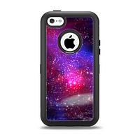 The Vivid Pink Galaxy Lights Apple iPhone 5c Otterbox Defender Case Skin Set