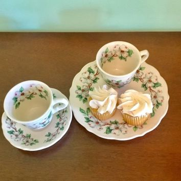 Syracuse China Dogwood Cups and Saucers, Syracuse China Dogwood Dessert Plate, Mid Century Floral Restaurant Ware