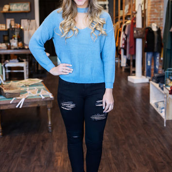 On the Path Sweater - Carolina Blue