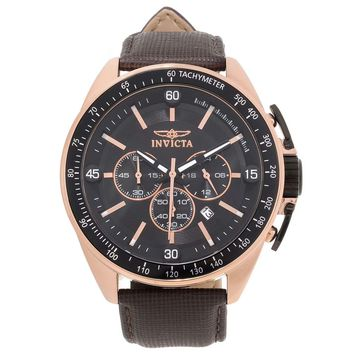 Invicta 15909 Men's S1 Rally Black Dial Rose Gold Steel Brown Leather Strap Chronograph Watch