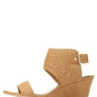 Qupid Laser-Cut Wedge Sandals by