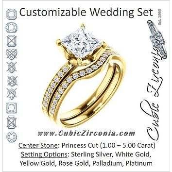 CZ Wedding Set, featuring The Sandy engagement ring (Customizable Prong-Accented Princess Cut Style with Thin Pavé Band)