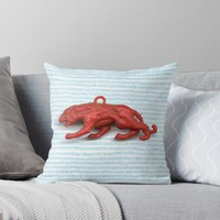 'Red panther on blue grass' Throw Pillow by vfphoto