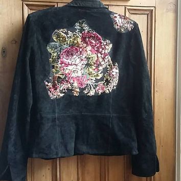 Vintage suede leather small 10  jacket black coats festival clothing womens clothes ladies hippie floral patchwork folk Dolly Topsy Etsy UK