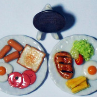 2 Lovely Breakfast Food Dollhouse Miniature Food, Barbie Food