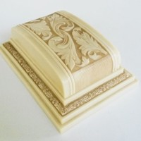 Art Deco Ring Box Ivory Color Wedding Engagement Double Off White Celluloid