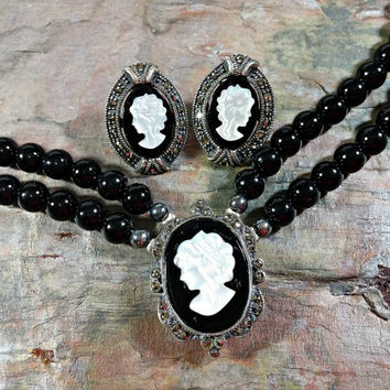 Vintage Cameo Set Black Onyx Mother of Pearl Sterling Silver Earrings Necklace Set Beaded Necklace Double Strand Necklace Pierced Earrings