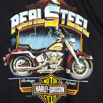 vintage 1991 HARLEY DAVIDSON shirt XL / heritage soft ail real steel / authentic / motorcycle / biker / 1990s 90s / classic soft black tee